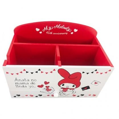 小禮堂 美樂蒂 木製單抽手機架收納盒 桌上型收納盒 抽屜盒 筆筒 (紅白 信封)