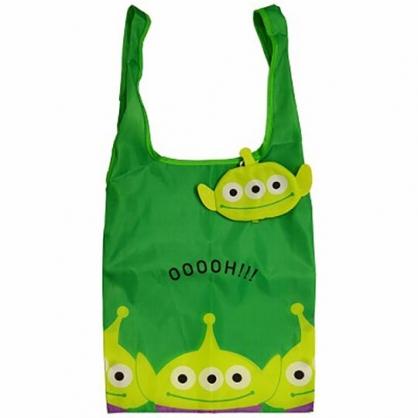 小禮堂 迪士尼 三眼怪 折疊尼龍環保購物袋 環保袋 側背袋 (綠 大臉)
