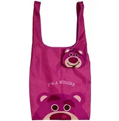 小禮堂 迪士尼 熊抱哥 折疊尼龍環保購物袋 環保袋 側背袋 (桃 大臉)