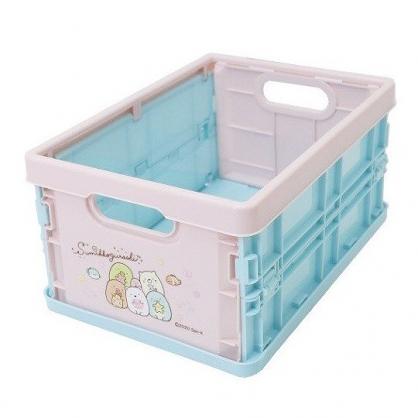 小禮堂 角落生物 塑膠折疊無蓋收納箱 CD收納盒 折疊收納盒 (S 粉綠 海底)