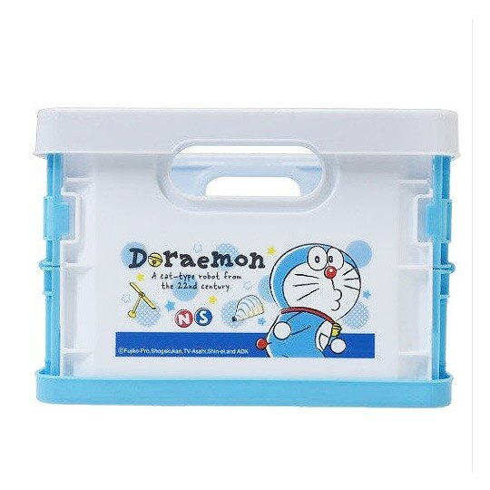小禮堂 哆啦A夢 塑膠折疊無蓋收納箱 CD收納盒 折疊收納盒 (S 藍白 50週年)
