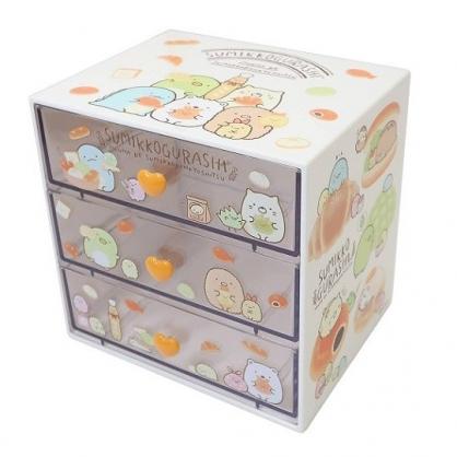 小禮堂 角落生物 塑膠三抽收納盒 桌上型抽屜盒 飾品盒 (白 麵包)
