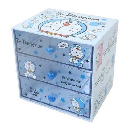 小禮堂 哆啦A夢 塑膠三抽收納盒 桌上型抽屜盒 飾品盒 (藍 星星)