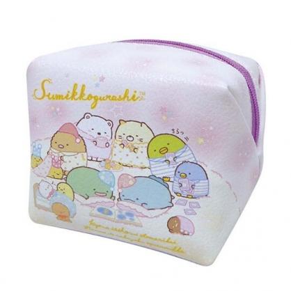 小禮堂 角落生物 迷你方形皮質化妝包 零錢包 小物包 (粉紫 睡衣)