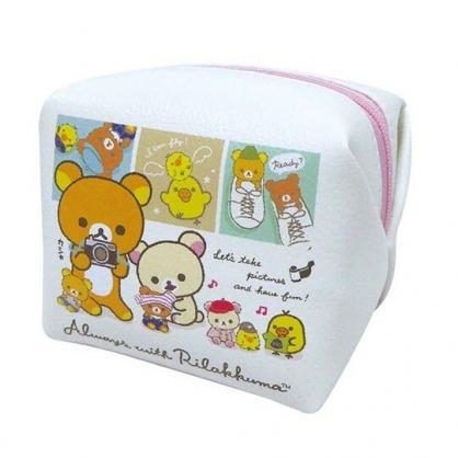 小禮堂 懶懶熊 迷你方形皮質化妝包 零錢包 小物包 (白粉 格圖)