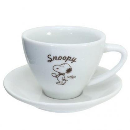小禮堂 史努比 日製 陶瓷杯盤組 咖啡杯盤 點心盤 金正陶器 (白 領結)