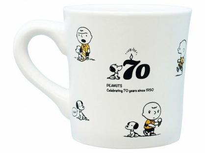 小禮堂 史努比 日製 陶瓷馬克杯 咖啡杯 陶瓷杯 金正陶器 (白 70週年)