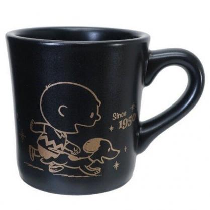 小禮堂 史努比 日製 陶瓷馬克杯 咖啡杯 陶瓷杯 金正陶器 (黑 70週年)