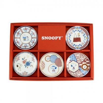 小禮堂 史努比 日製 迷你陶瓷圓盤組 醬料盤 小菜盤 YAMAKA陶瓷 (5入 紅盒)
