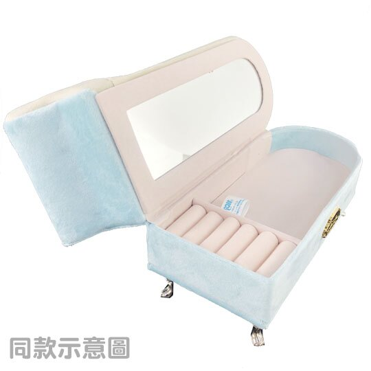 小禮堂 大耳狗 沙發造型飾品收納盒 絨毛珠寶盒 首飾鏡盒 (藍白)