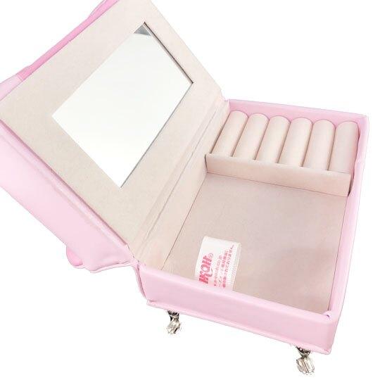 小禮堂 美樂蒂 沙發造型飾品收納盒 皮質珠寶盒 首飾鏡盒 (桃粉)