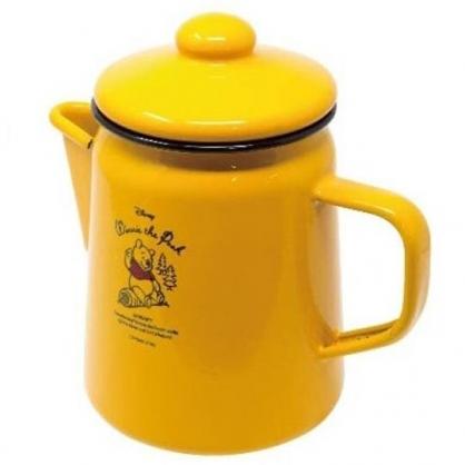 小禮堂 迪士尼 小熊維尼 陶瓷茶壺 飲料壺 咖啡壺 750ml (黃 木頭)