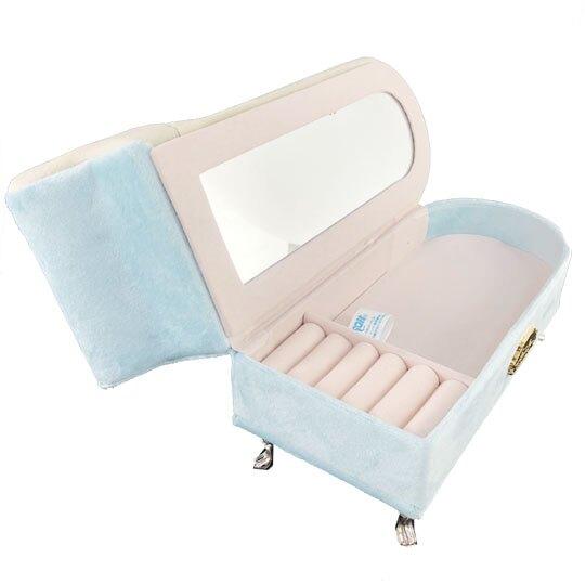小禮堂 大耳狗 沙發造型飾品收納盒 絨毛珠寶盒 首飾鏡盒 (藍米)
