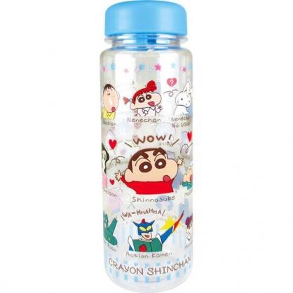 小禮堂 蠟筆小新 透明隨身冷水瓶 塑膠水瓶 兒童水壺  500ml (藍 角色)