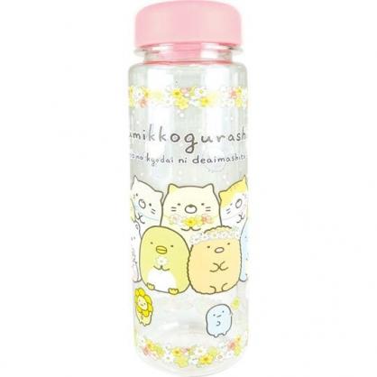 小禮堂 角落生物 透明隨身冷水瓶 塑膠水瓶 兒童水壺  500ml (粉 花圈)