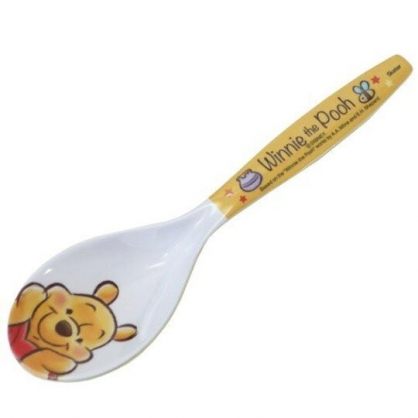 小禮堂 迪士尼 小熊維尼 美耐皿湯匙 兒童湯匙 塑膠湯匙 (黃白 摸臉)
