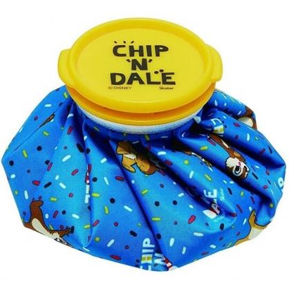 小禮堂 迪士尼 奇奇蒂蒂 圓筒型尼龍冰敷袋 冰枕 退熱袋 (藍黃 彩點)