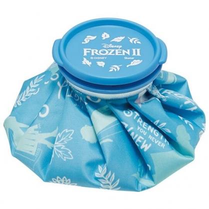 小禮堂 迪士尼 冰雪奇緣 圓筒型尼龍冰敷袋 冰枕 退熱袋 (藍 樹葉)