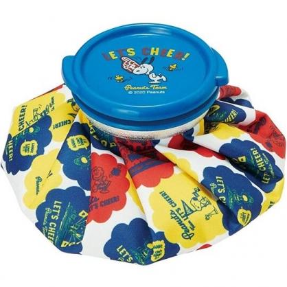 小禮堂 史努比 圓筒型尼龍冰敷袋 冰枕 退熱袋 (藍黃 加油)