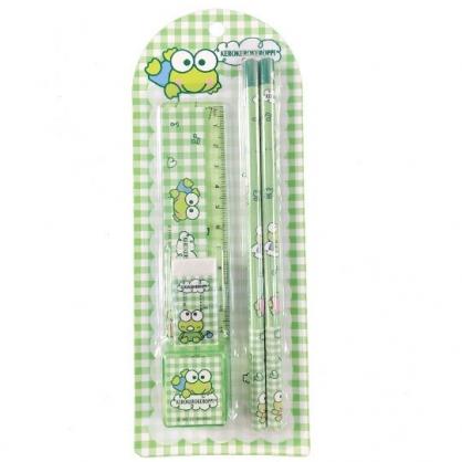 小禮堂 大眼蛙 五件式文具組 鉛筆 橡皮擦 直尺 削筆器 (綠 格紋)