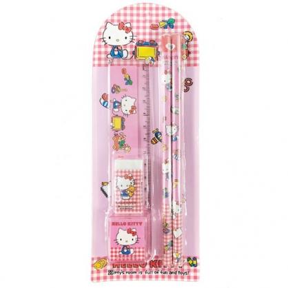 小禮堂 Hello Kitty 五件式文具組 鉛筆 橡皮擦 直尺 削筆器 (粉 格紋)