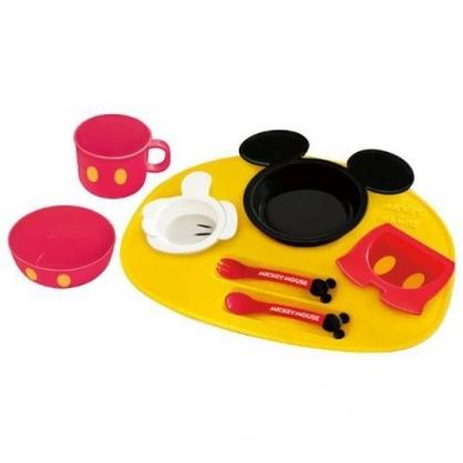 小禮堂 迪士尼 米奇 日製 八件式兒童餐具組 塑膠餐具組 餐具禮盒 (黃紅 大臉)