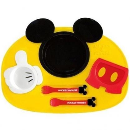 小禮堂 迪士尼 米奇 日製 六件式兒童餐具組 塑膠餐具組 餐具禮盒 (黃紅 大臉)