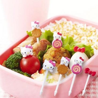 小禮堂 Hello Kitty 造型塑膠食物裝飾叉組 水果叉 甜點叉 (8 入 粉 餅乾)