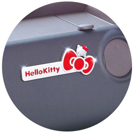小禮堂 Hello Kitty 立體汽車裝飾貼 金屬車貼 反光貼紙 (紅銀 蝴蝶結)