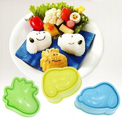 小禮堂 史努比 日製 大臉造型飯糰壓模組 便當模具 DIY飯糰模 (3入 藍綠黃)