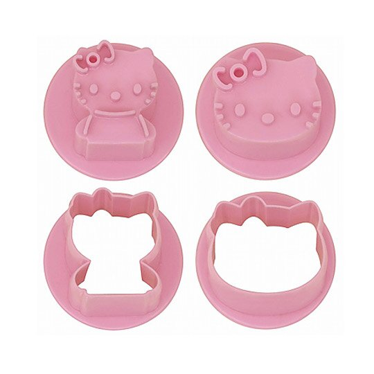 小禮堂 Hello Kitty 日製 大臉造型蔬菜壓模組 餅乾模具 便當模具 (2入 粉)