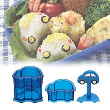 小禮堂 TOMICA小汽車 車子造型迷你飯糰壓模組 便當模具 DIY飯糰模 (藍)