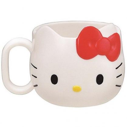 小禮堂 Hello Kitty 造型單耳美耐皿小水杯 兒童水杯 塑膠杯 240ml (白 大臉)