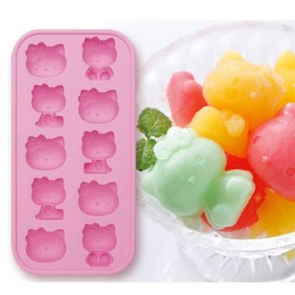 小禮堂 Hello Kitty 造型矽膠製冰模 冰塊模具 巧克力模 餅乾模 (10顆 粉)