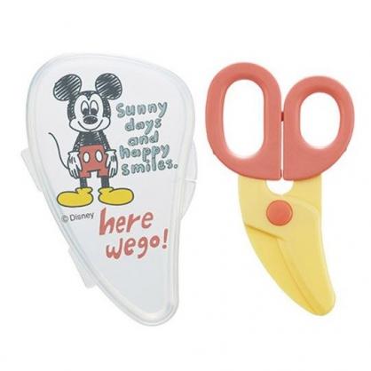 小禮堂 迪士尼 米奇 嬰兒食物剪刀附盒 安全食物剪 寶寶食物剪 可拆洗 (紅黃 素描)