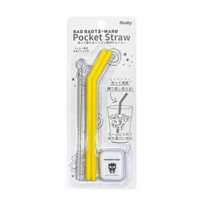 小禮堂 酷企鵝 攜帶型盒裝矽膠吸管組附吸管刷 環保吸管 彎吸管 (2入 黃黑)