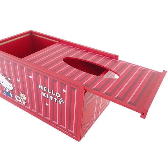 小禮堂 Hello Kitty 木製滑蓋面紙盒 抽取式紙巾盒 衛生紙盒 (紅 貨櫃)