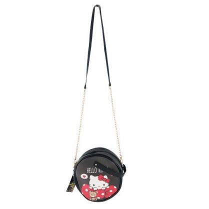 小禮堂 Hello Kitty 圓形皮質鍊條斜背包 皮質手提包 隨身背包 (黑紅 蝴蝶結)