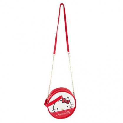 小禮堂 Hello Kitty 圓形皮質鍊條斜背包 皮質手提包 隨身背包 (紅白 大臉)