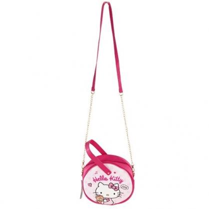 小禮堂 Hello Kitty 圓形皮質鍊條斜背包 皮質手提包 隨身背包 (粉白 小熊)