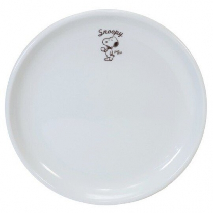 小禮堂 史努比 日製 陶瓷圓盤 沙拉盤 點心盤 金正陶器 (白 領結)