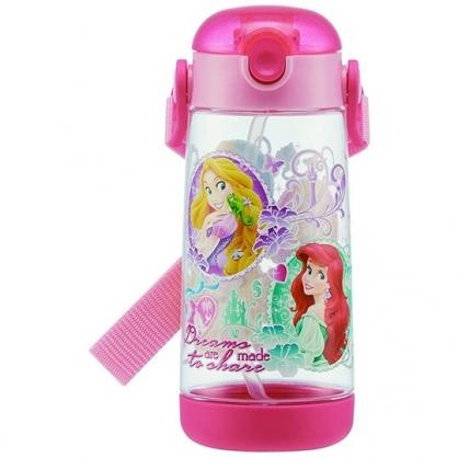 小禮堂 迪士尼 公主 透明直飲式水壺附背帶 塑膠水瓶 兒童水壺 480ml  (粉 圓框)