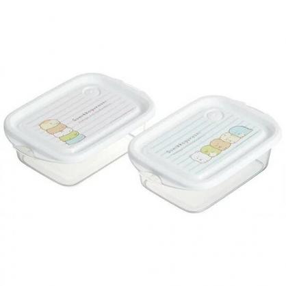小禮堂 角落生物 日製 方形塑膠保鮮盒 透明保鮮盒 微波便當盒 (白 橫紋)