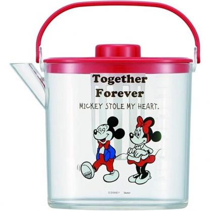 小禮堂 迪士尼 米奇米妮 日製 手提透明冷水壺 耐熱水壺 飲料壺 1.2L (紅蓋)