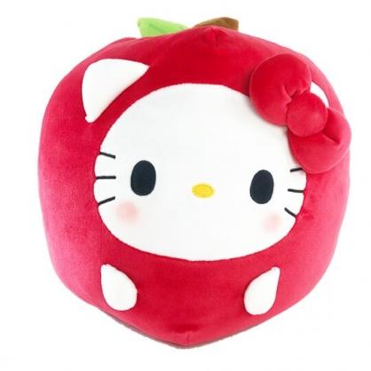 小禮堂 Hello Kitty 蘋果造型絨毛抱枕 靠墊 玩偶 娃娃 (紅)