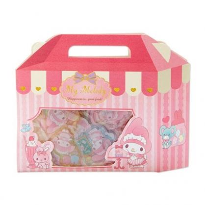 小禮堂 美樂蒂 手提紙盒造型果凍貼紙 透明貼紙 水晶貼紙 (粉白)