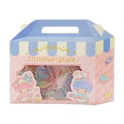 小禮堂 雙子星 手提紙盒造型果凍貼紙 透明貼紙 水晶貼紙 (粉藍)