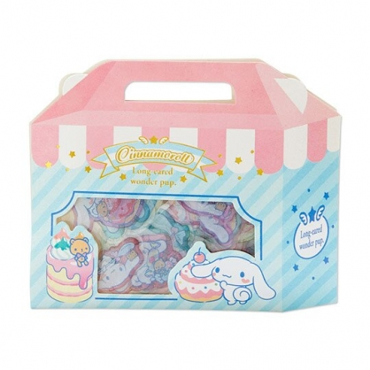小禮堂 大耳狗 手提紙盒造型果凍貼紙 透明貼紙 水晶貼紙 (藍粉)