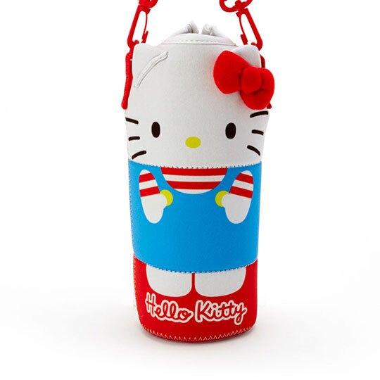 小禮堂 Hello Kitty 造型潛水布斜背寶特瓶套 水壺袋 環保杯袋  500-600ml (紅白)