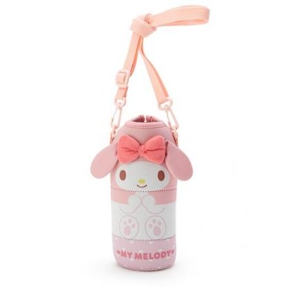 小禮堂 美樂蒂 造型潛水布斜背寶特瓶套 水壺袋 環保杯袋  500-600ml (粉白)